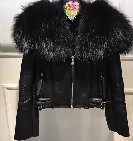Slay Accessories. Black shearling leather fur motorcycle jacket.