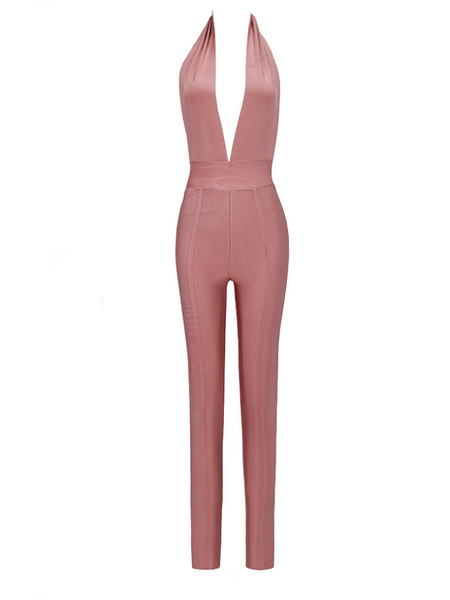 Slay Accessories. Pink bandage jumpsuit.