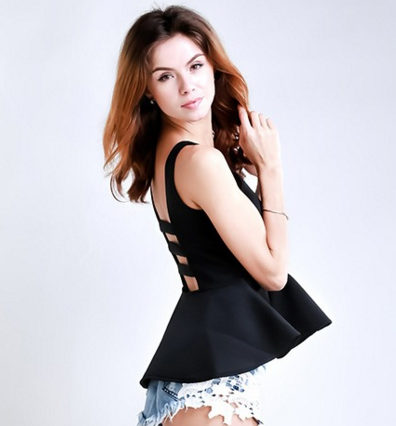 Mia Black Deep V Peplum Top