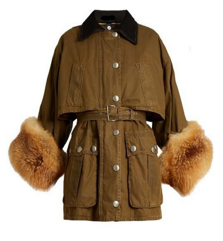 Slay Accessories. Military jacket with fox fur sleeves. Fox fur safari jacket.
