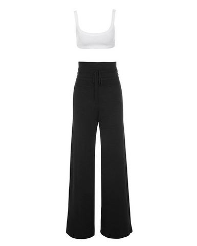 Slay Accessories. Black and white bandage wide leg pants sets, white bandage crop top.