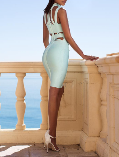 Shasta Mint Cut Out Bandage Dress