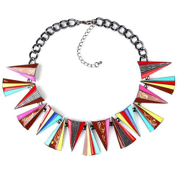 Geometric Shaped Collar Choker Pendant Chain Fashion Statement Necklace