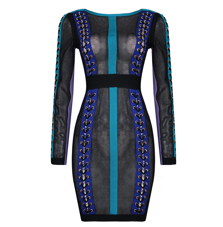 Slay Accessories multi color mesh and bandage dress with tie up design.