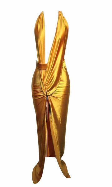 Neko Gold Deep V Gown