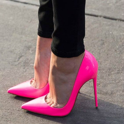 Cindy Neon Pink Patent Leather Pumps