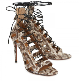 Ngozi Snake Embossed Leather Sandals Neutral