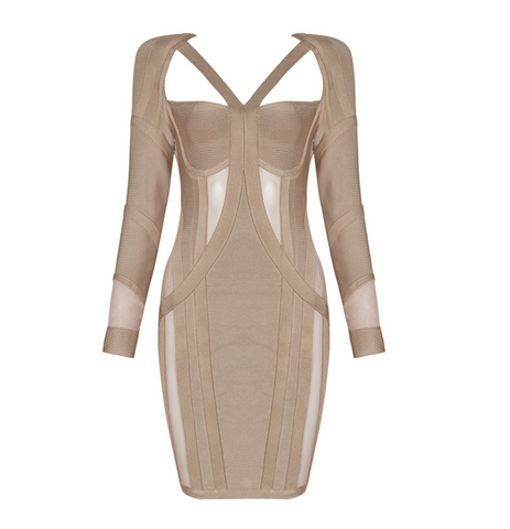 Slay Accessories. Khaki color bandage dress with sheer paneling inserts.