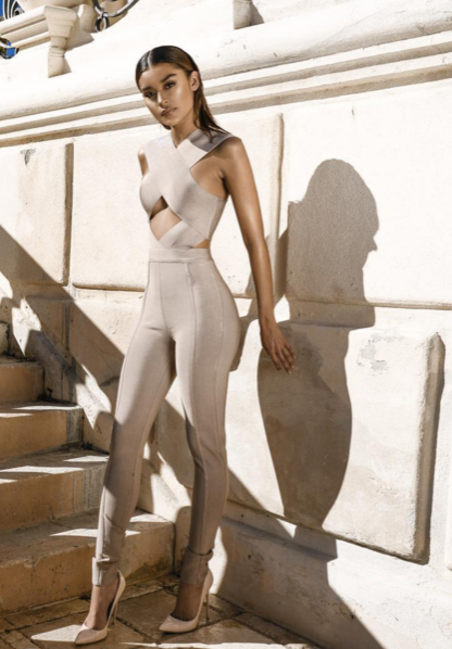 Alisha Nude Criss Cross Top Jumpsuit