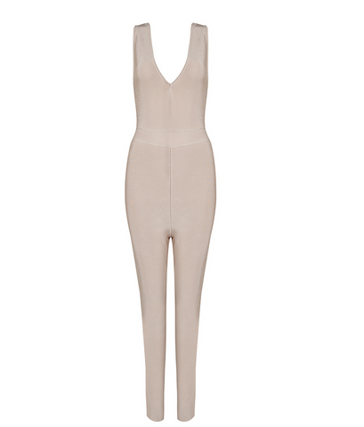 Slay Accessories. Beige bandage jumpsuit with deep v neckline.
