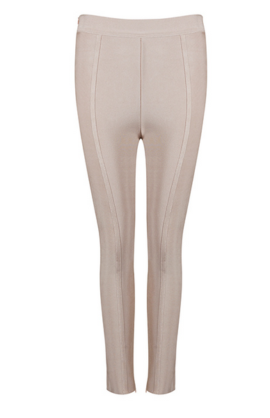 Slay Accessories. Nude bandage trousers. Bodycon nude bandage leggings.
