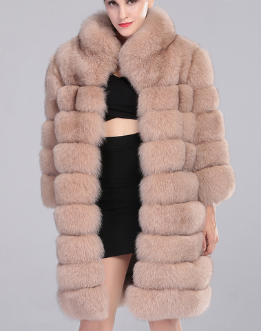 Slay Accessories. Nude fox fur coat. Luxury fox fur coat in nude color.