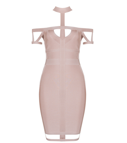 Slay Accessories gorgeous blush off the shoulder cut out bandage dress.