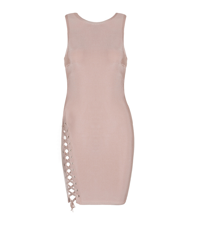 Slay Accessories. Nude color bandage dress with side tie design. Bodycon fit dress.