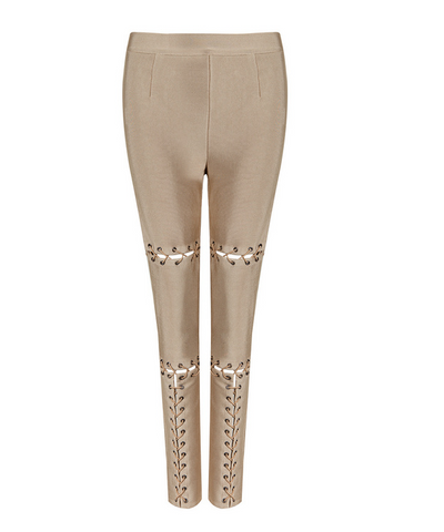 Slay Accessories beige nude bandage tie up leggings. Beige nude skinny trousers with front tie up detailing.