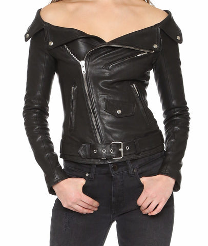 Slay Accessories. Leather off the shoulder jacket. Black leather off the shoulder biker jacket. Stylish off the shoulder leather jacket.