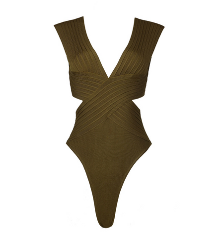 Slay Accessories. Olive bandage bodysuit with criss cross design.