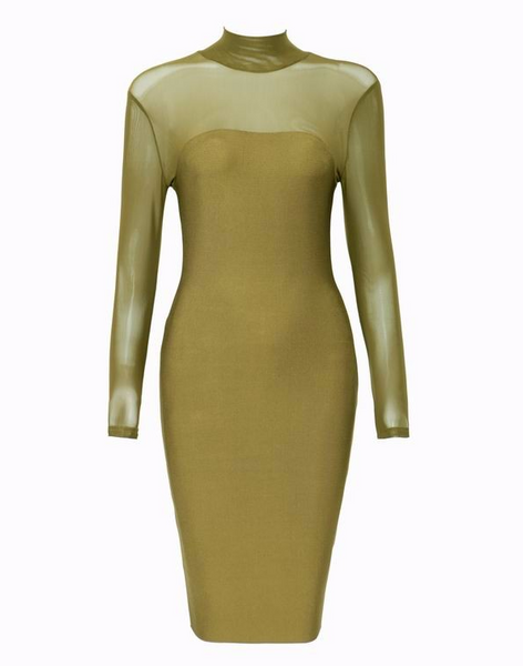 Slay Accessories. Olive green sheer panel top dress. Olive green bandage dress with sheer top.