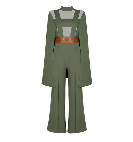 Slay Accessories. Olive green cape jumpsuit.