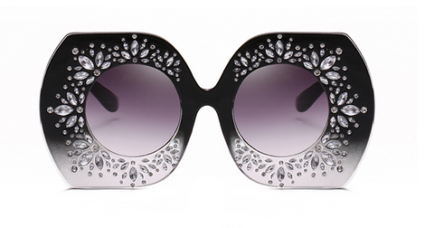 Slay Accessories.  Black Ombre crystal embellished oversized sunglasses.
