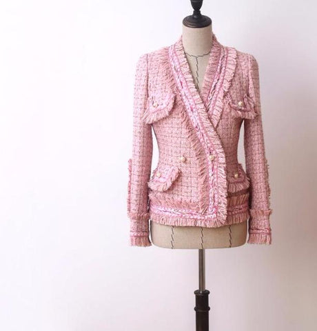 Slay Accessories pale pink tweed blazer.