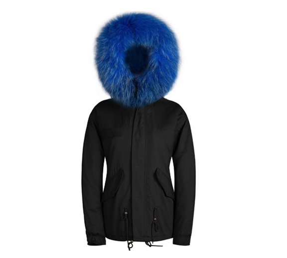 Fur Collar Hooded Parka Jacket In Black