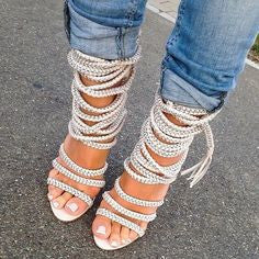 Penelope Gray Leather Chain Sandals