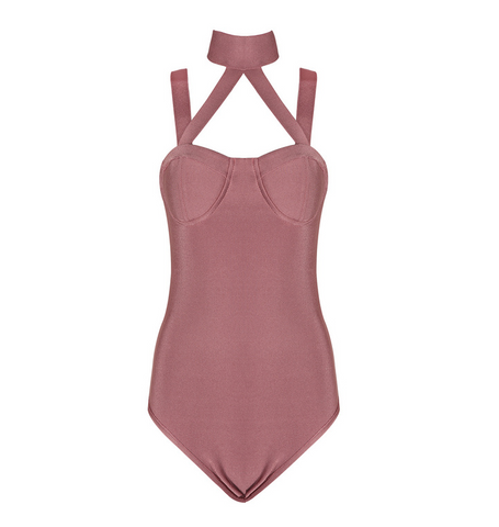 Slay Accessories pink bandage bodysuit. Criss cross sleeves choker neck design.