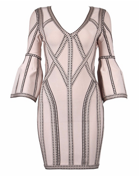 Slay Accessories. Bandage mini dress with structured sleeves. Bandage mini dress with bell sleeves.