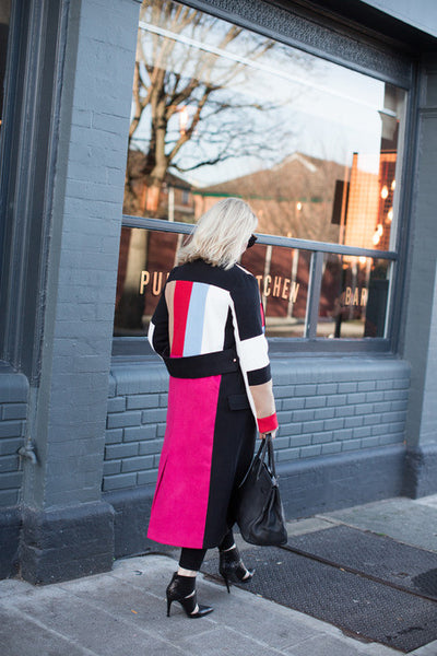 Bright Color Block Long Coat Multi Color