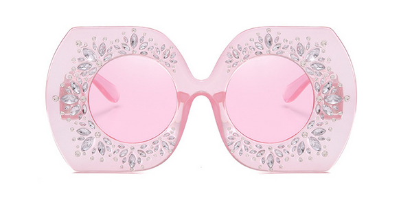 Slay Accessories. Pink crystal embellished oversized sunglasses.
