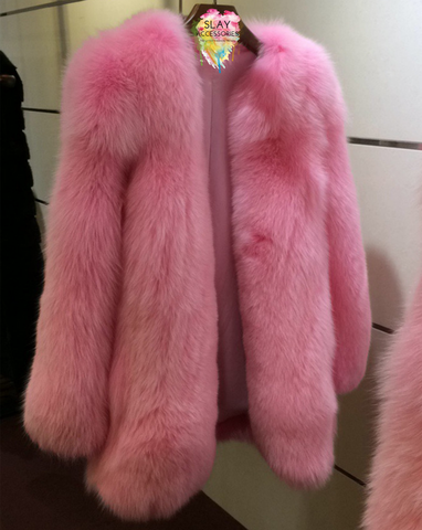 Slay Accessories. Pink fur coat. Runway style pink fur coat.