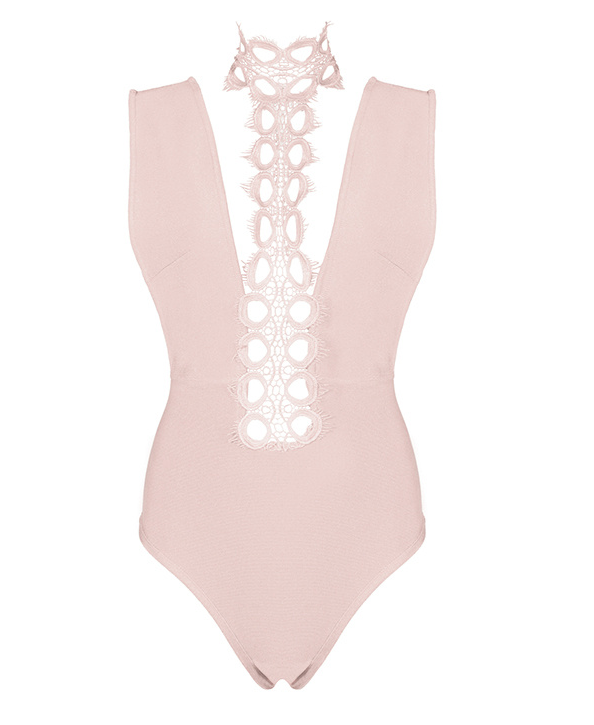 Slay Accessories. Pink bandage and choker neck lace bodysuit.