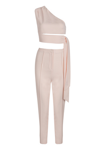 Slay Accessories. Blush skinny pant set with off shoulder crop top.