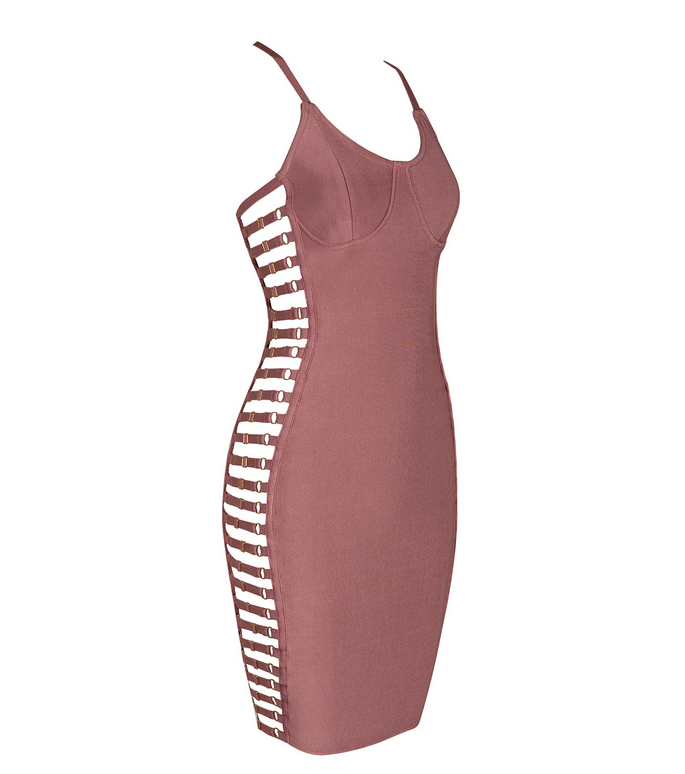 Slay Accessories. Pink bandage dress with side cut out paneling.