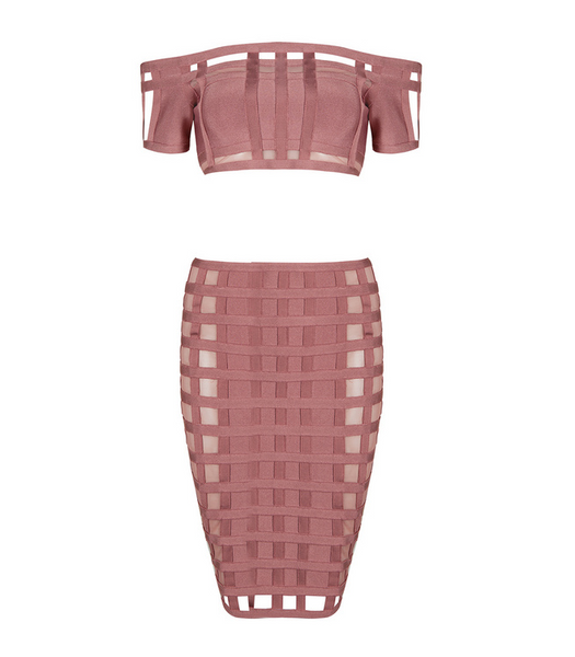 Slay Accessories. Pink off shoulder bandage dress set.