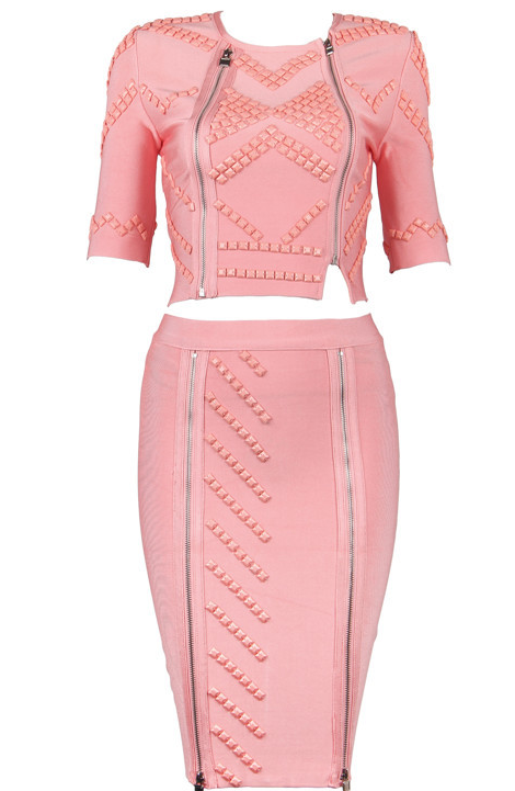 Slay Accessories. Pink studded bandage dress set. Embellished bodycon skirt and top set. Pink pencil skirt and crop top.