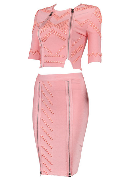 Bejay Pink Bandage Skirt and Top