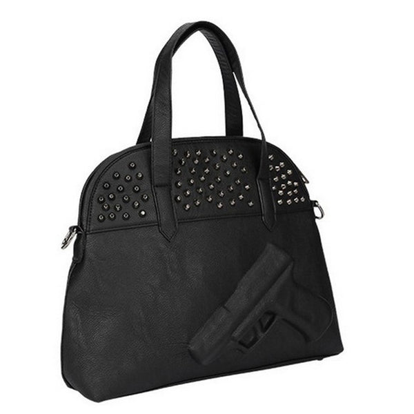 Nadia Studded 3D Black Leather Fashion Handbag