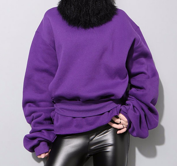 Slay Accessories. Modern purple sweatshirt with extra long sleeves. Chic street style women's sweatshirt