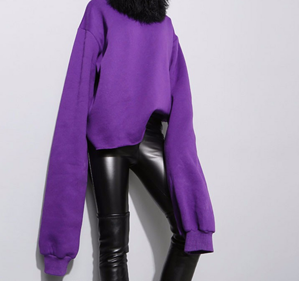 Slay Accessories. Modern purple sweatshirt with extra long sleeves. Chic street style women's sweatshirt.