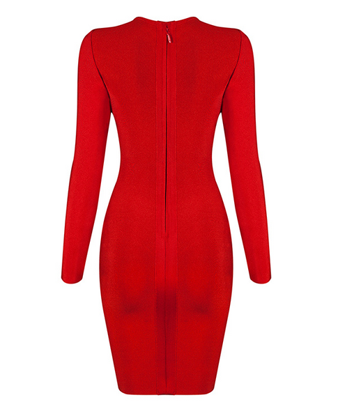 Slay Accessories red bandage mini dress. Red cut out dress. Elka red bandage dress.