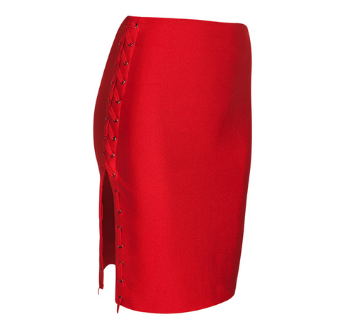 Slay Accessories. Red bandage side lace up skirt.