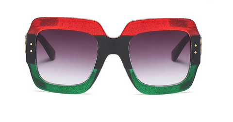 Slay Accessories. Red, black and green square glitter sunglasses.