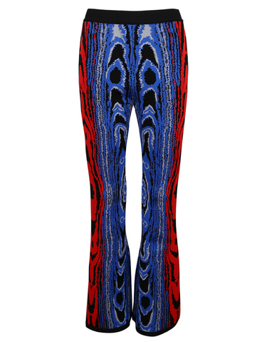 Slay Accessories. Blue and Red print bandage bell bottom pants.