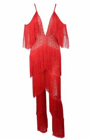Slay Accessories red fringe jumpsuit. Flare leg jumpsuit featuring stylish fringes.