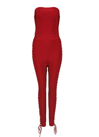 Slay Accessories. Red strapless bandage jumpsuit with side tie up design.