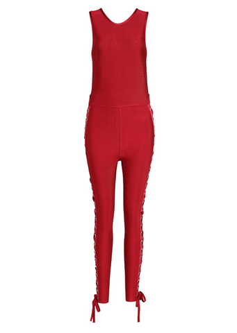 Slay Accessories. Red bodycon jumpsuit with side tie up detailing. Red bandage jumpsuit.
