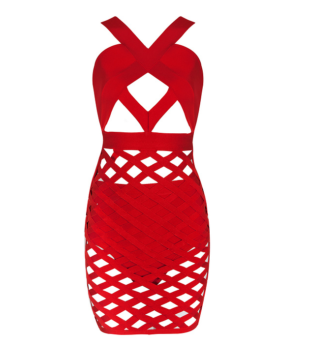 Slay Accessories. Red lattice bandage dress. Cut out bodycon dress.
