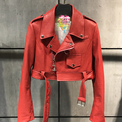 Slay Accessories. Red leather crop motorcycle jacket.